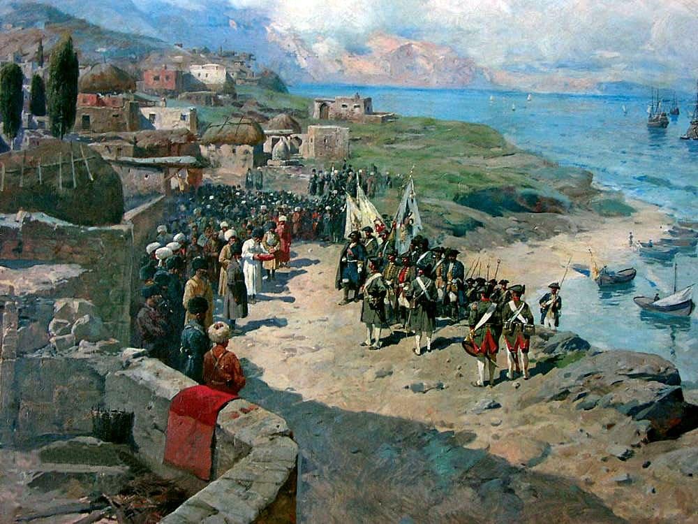 Франц Рубо «Вступление императора Петра I в Тарки»