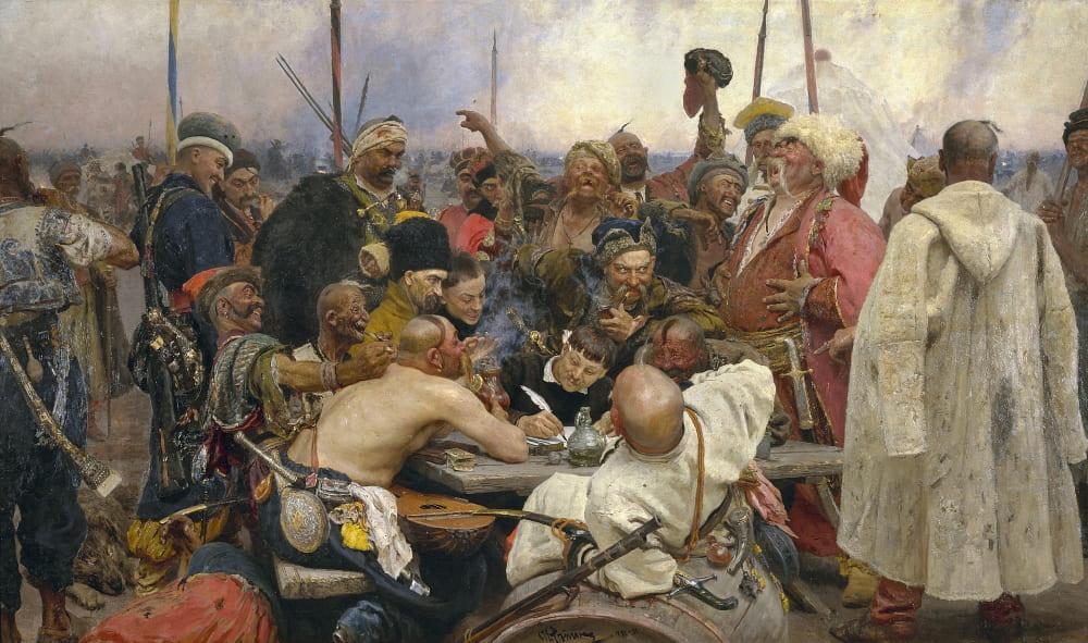Илья Репин «Запорожцы» («Письмо запорожцев турецкому султану»)