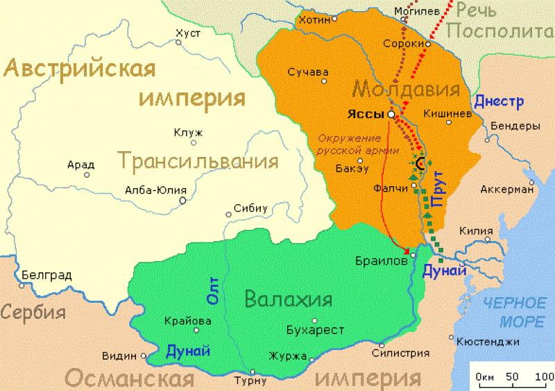 Карта Прутского похода 1711 года / © Vissarion / ru.wikipedia.org