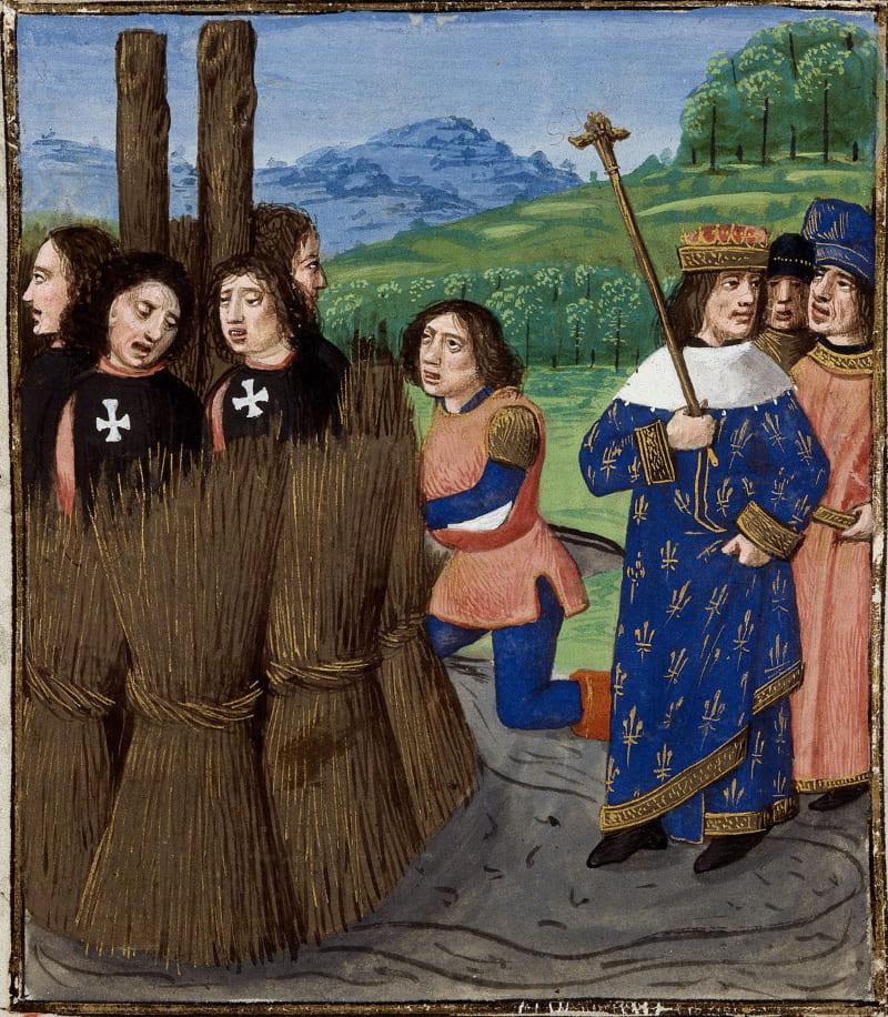 Миниатюра «Казнь тамплиеров» из рукописи Джованни Бокаччо