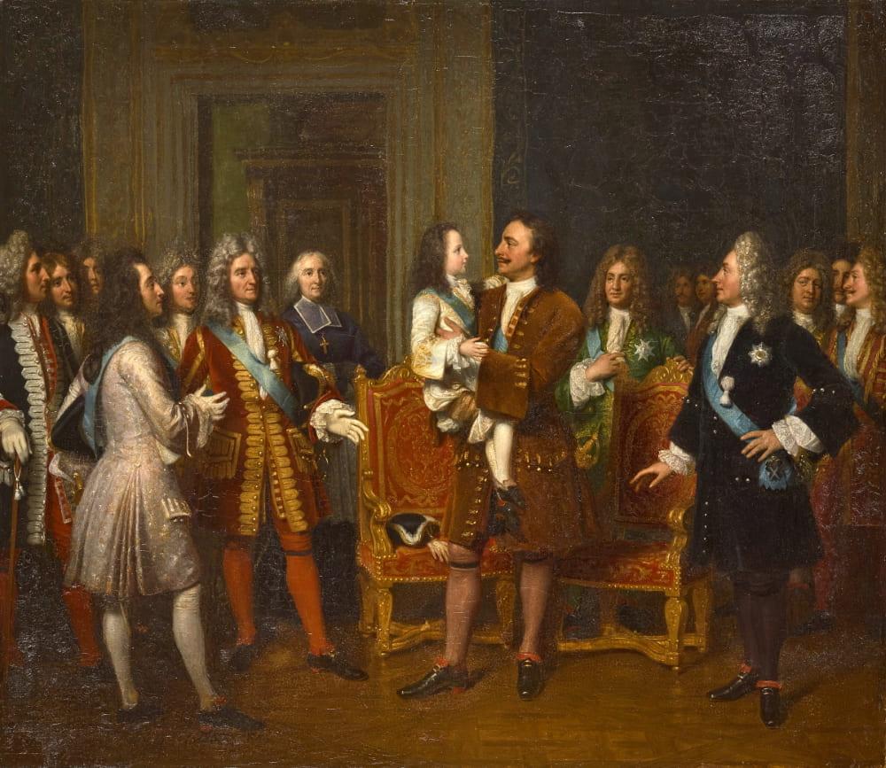 Луи Эрнан «Встреча Петра I и Людовика XV в Версале»
