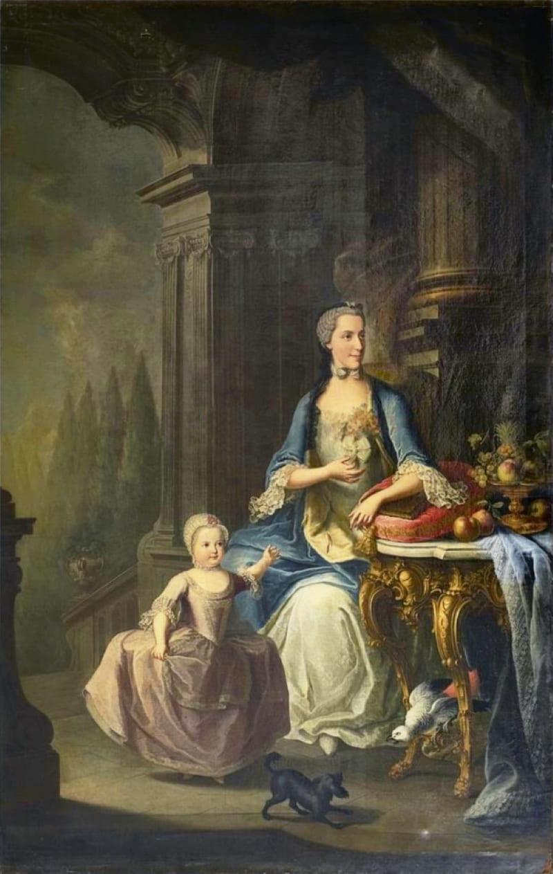 Мартин ван Майтенс «Портрет принцессы Изабеллы Пармской и ее дочери эрцгерцогини Марии Терезии Австрийской»