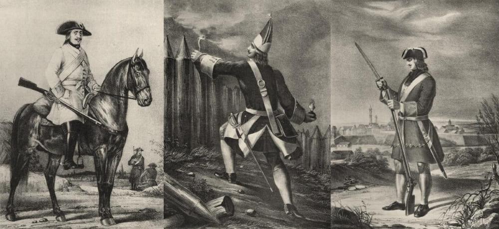 Рядовой драгун, гренадер пехотного полка с ручной гранатой и солдат-преображенец