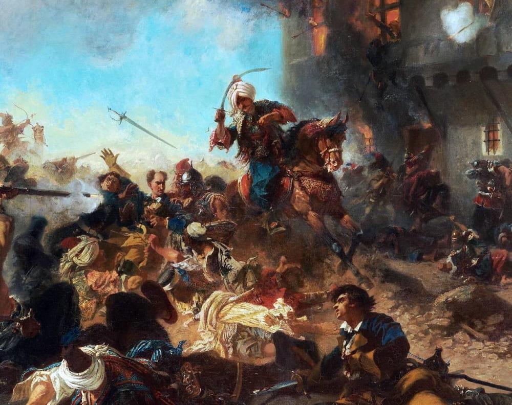 Шарль Эдуард Арман-Дюмареск «Стычка Карла XII с охранявшими его янычарами в Бендерах»