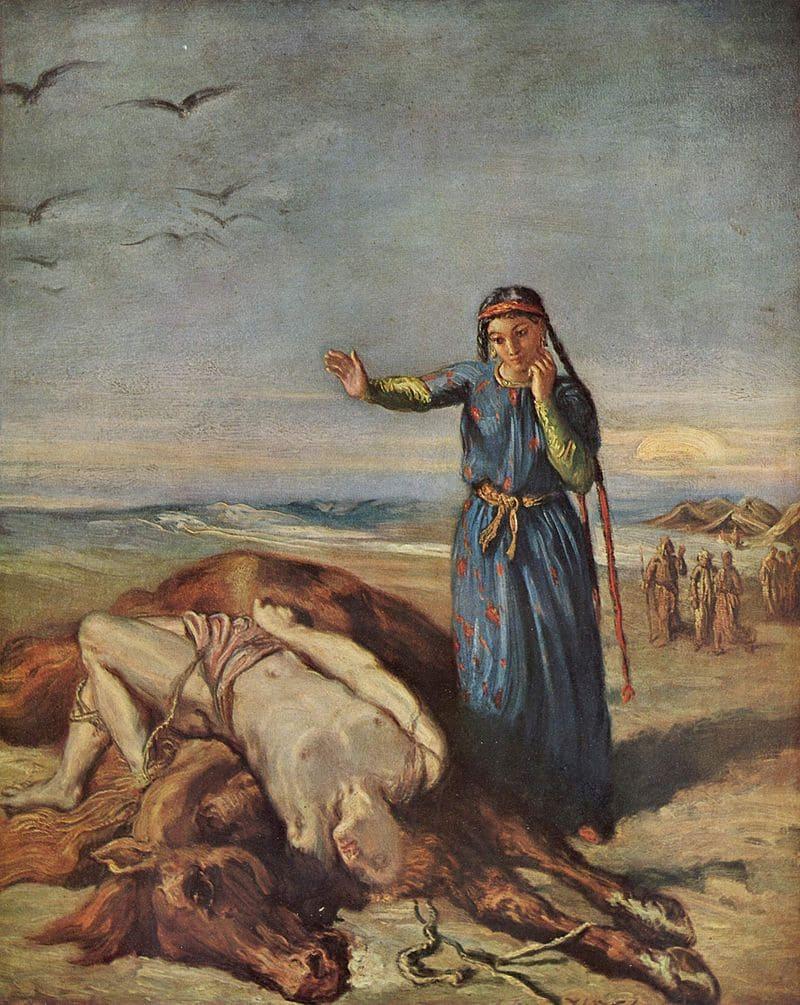 Теодор Шассерио «Казачка возле тела Мазепы, привязанного к лошади»