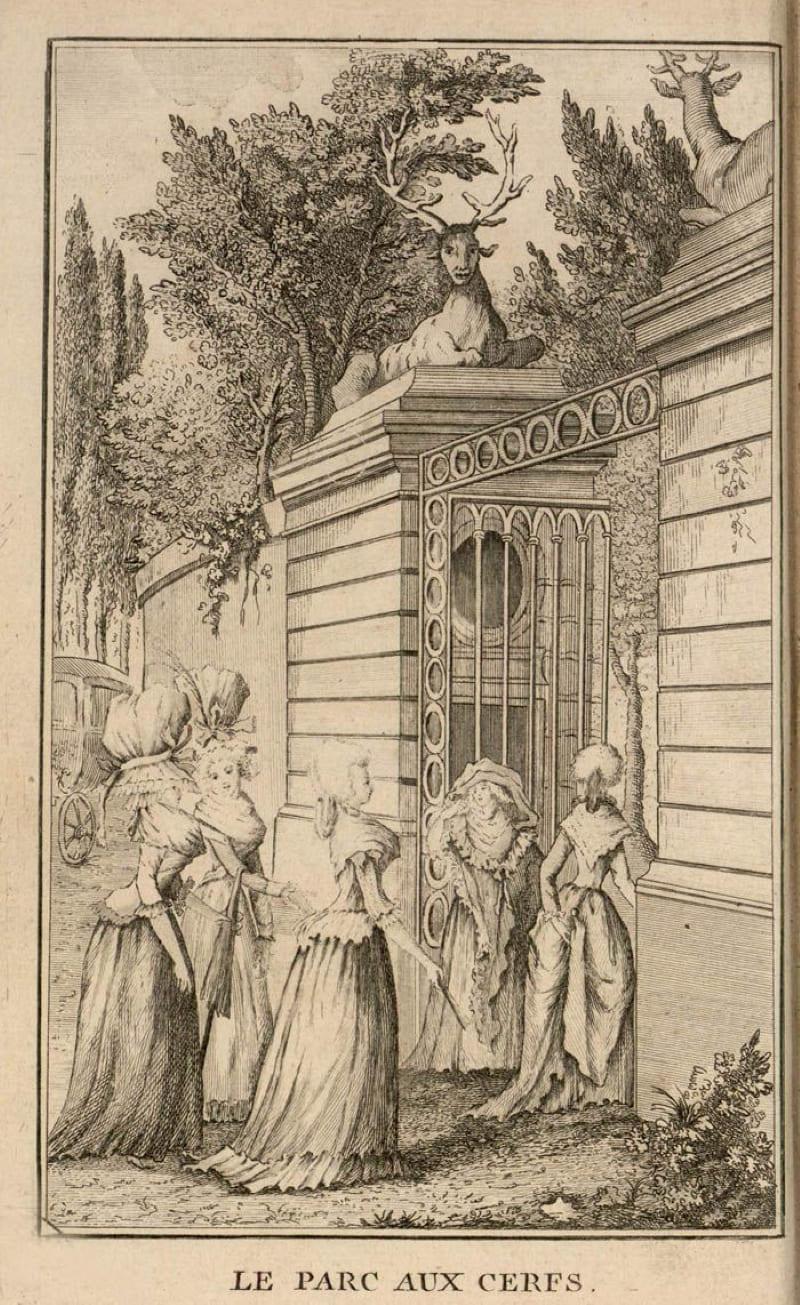 Вход в Олений парк, французская гравюра
