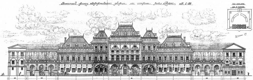 Восточный фасад Лефортовского дворца со стороны реки Яузы