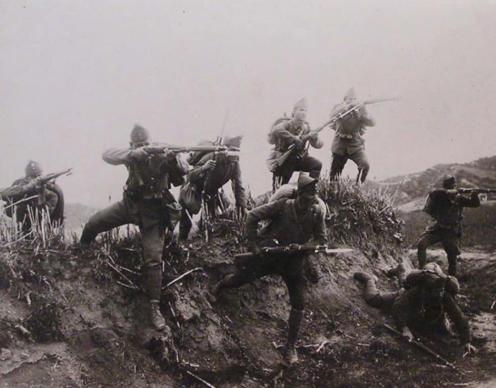 Атака греческой пехоты на реке Эрмоса во время греко-турецкой войны (1919-1922)