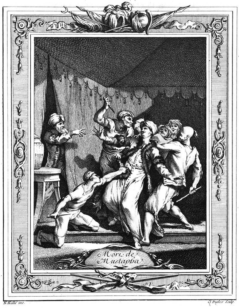 Гравюра Клода Дюфло «Европейское изображение казни шехзаде Мустафы»