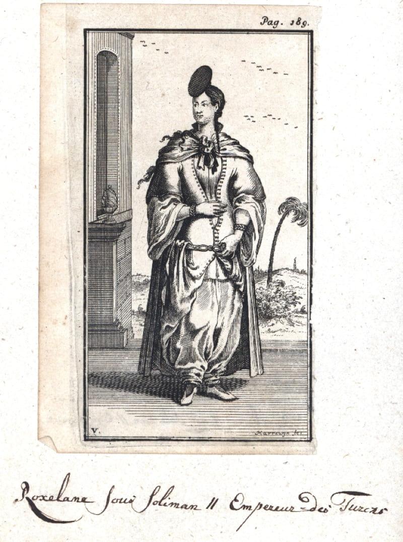Гравюра Якобуса Харревейна «Хюррем-султан на прогулке»