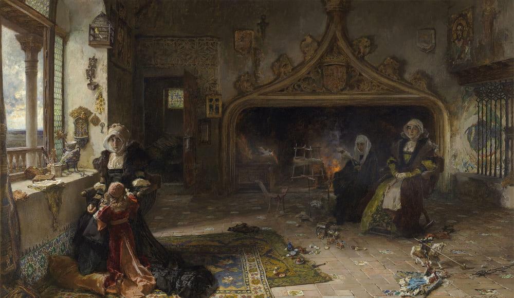 Франсиско Прадилья «Королева Хуана, заключенная в Тордесильяс со своей дочерью, инфантой Екатериной» / Музей Прадо, Мадрид, Испания