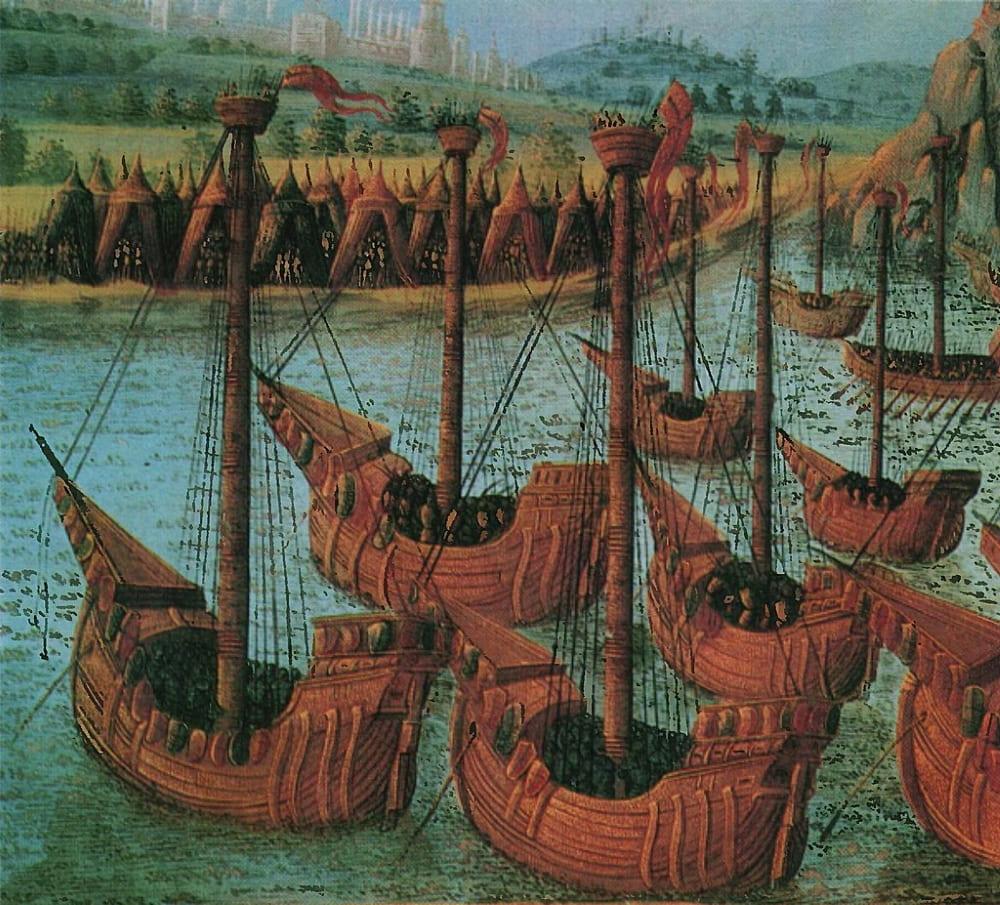 Прибытие крестоносцев к Константинополю в 1203 году. Книжная миниатюра, XIV век