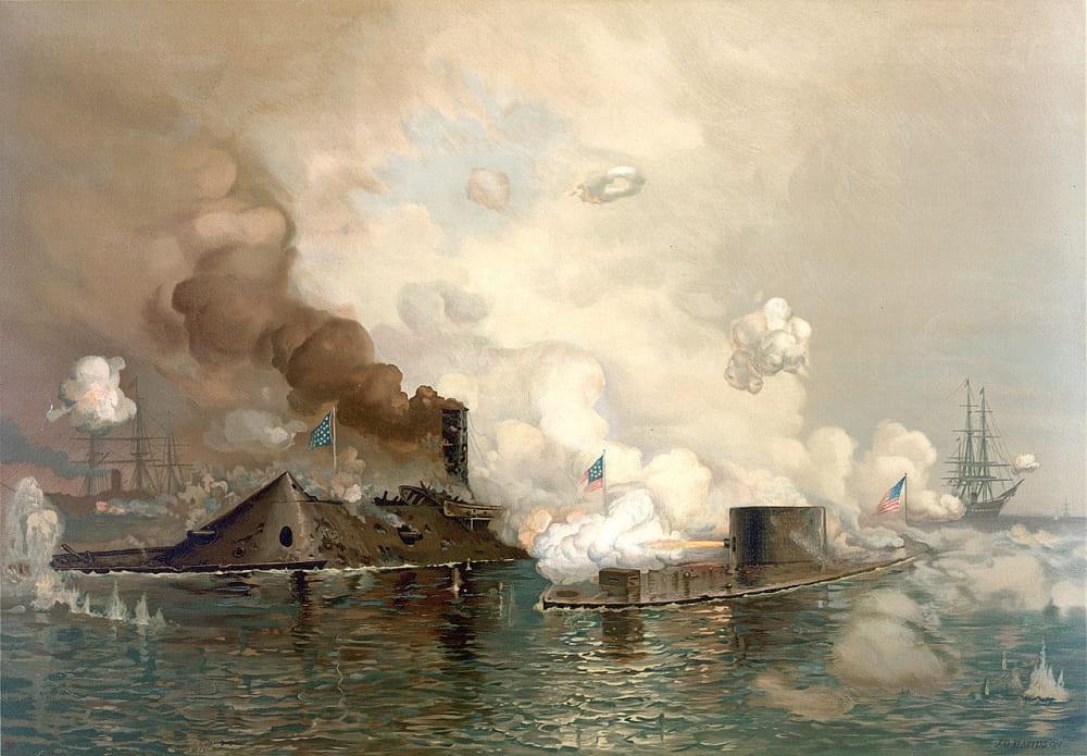 Бой «Вирджинии» с «Монитором». Битва на Хэмптонском рейде / Библиотека Конгресса США