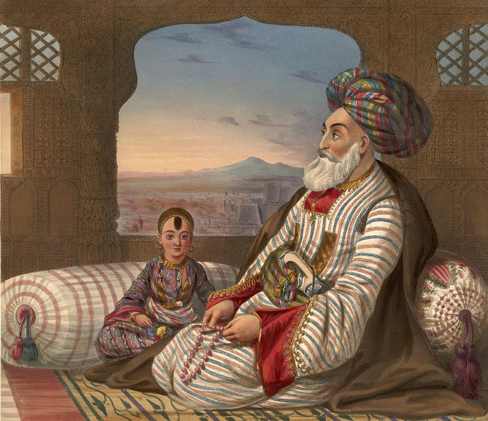 Джеймс Раттрей «Дост-Мухаммед со своим младшим сыном» / Британская библиотека