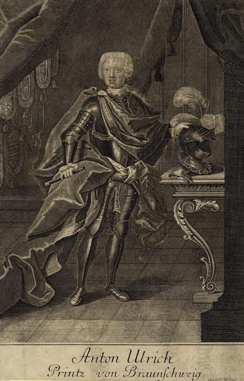 Гравюра И.М. Бернигерота «Портрет герцога Антона Ульриха Брауншвейгского»