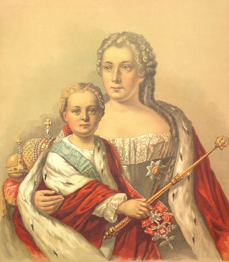 Император Иоанн Антонович и его мать правительница Анна Леопольдовна