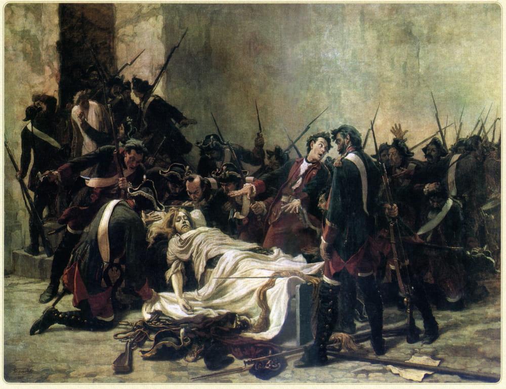 Иван Творожников «Василий Мирович, стоящий над телом Ивана VI в Шлиссельбургской крепости»