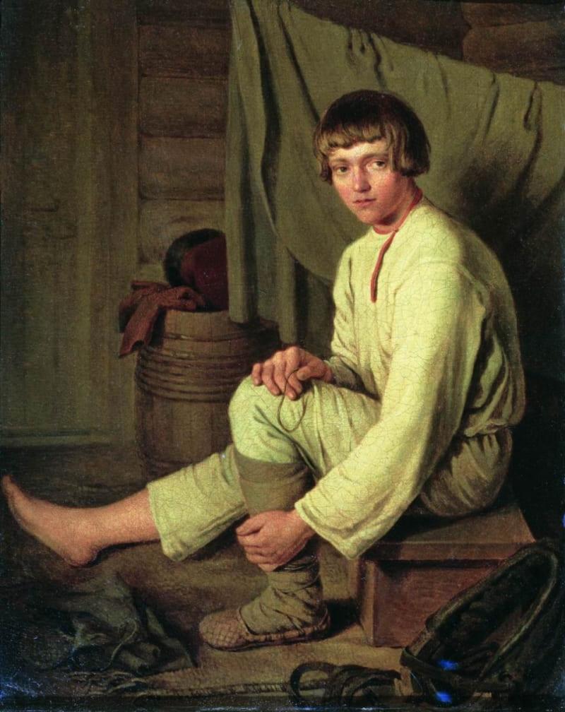 Капитон Алексеевич «Мальчик-крестьянин, надевающий лапти» (не является изображением Петра Антоновича)