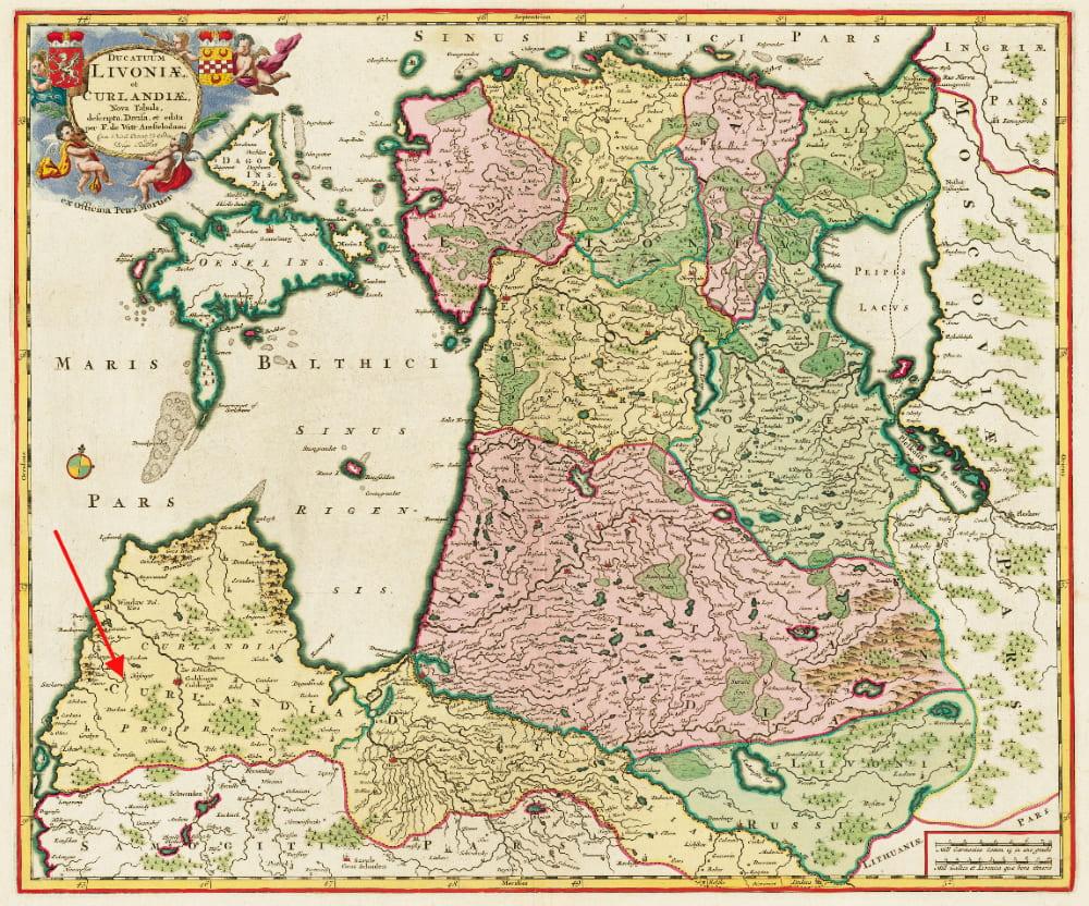 Курляндия на карте Питера Мортье