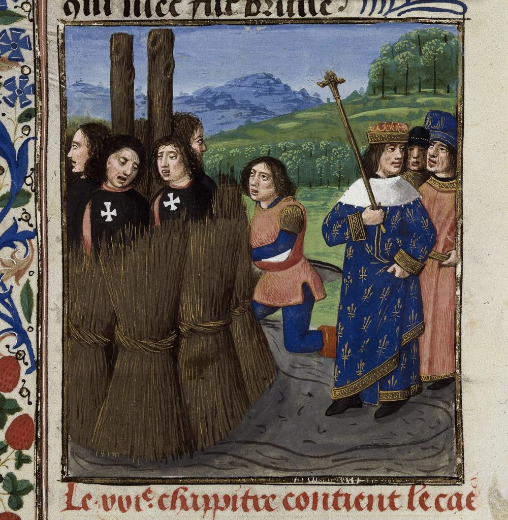 Миниатюра французской рукописи «Декамерона» Бокаччо. Сожжение тамплиеров.