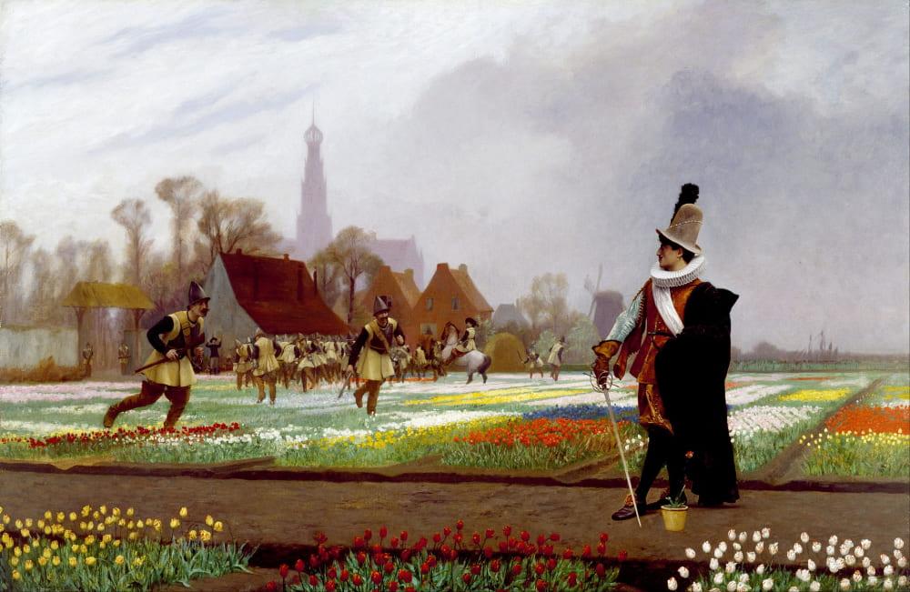 Жан-Леон Жером «Тюльпановое безумие» (дворянин пытается защитить свою тюльпановую плантацию от солдат, посланных, чтобы уничтожить ее.) / Художественный музей Уолтерса, США