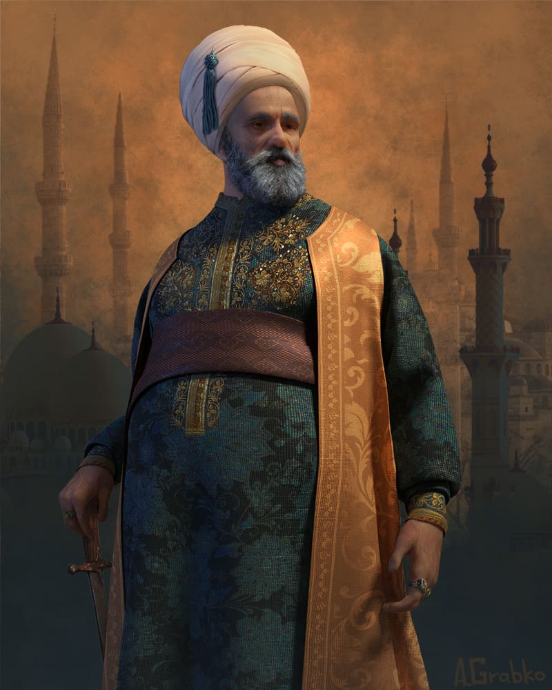 Знатный человек Османской империи (не является портретом Рустема-паши) / © Andrew Grabko / andgrabko.artstation.com