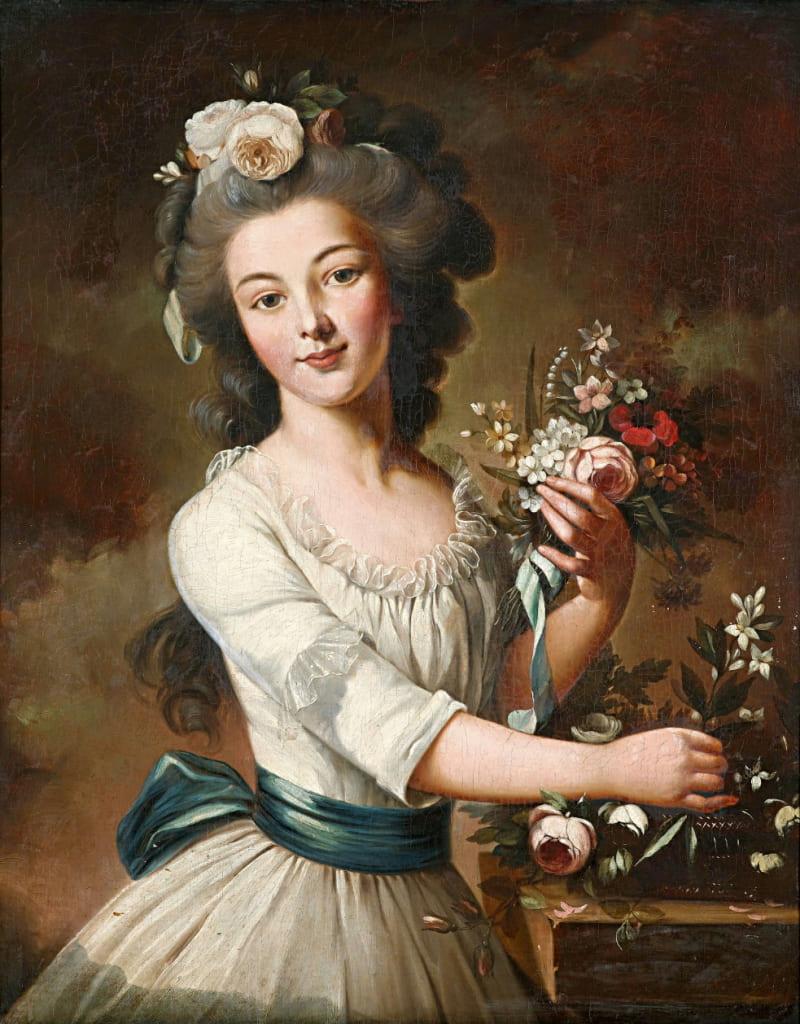 Французская школа XVIII в. «Портрет молодой леди с цветами в волосах» (не является портретом княжны Таракановой)