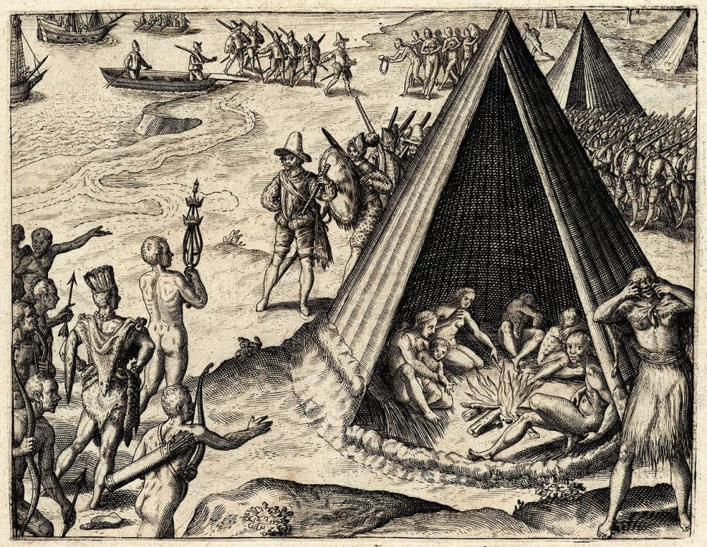 Гравюра Теодора де Бри «Прибытие Дрейка в Калифорнию»