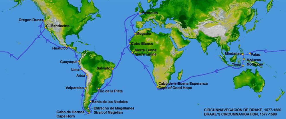 Карта маршрута Дрейка по миру / © Continentalis / commons.wikimedia.org